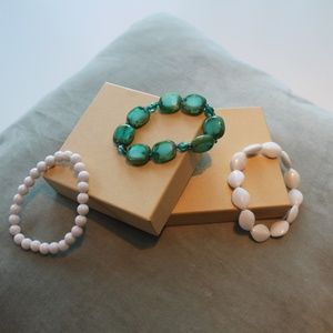 Jewelry - Three Pack Beaded Plastic Bracelets White and Blue